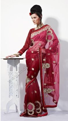 Brick Red Net Saree 14844 With Unstitched Blouse Indian Dresses, Indian Outfits, Long Petticoat, Red Sari, Indian Accessories, Net Saree, Blouse Online, Long Blouse, Long Scarf