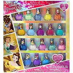 Townley Girl Disney Princess Belle Non-Toxic Peel-Off Nail Polish Set for Girls, Glittery and Opaque Colors, Ages 3+ - 18 Pack Quick Dry Nail Polish, Dry Nails Quick, Mermaid Toys, Mermaid Barbie, Nail Polish Bottles, Nail Polish Sets, Barbie Camper, Disney Princess Gifts, Water Based Nail Polish