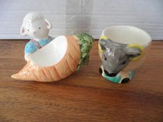 2 Cute Easter Lamb Ceramic Egg Cups 1 New CCHP, 1 Unusual with Carrot