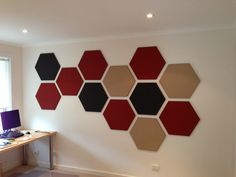 Hexagonal Designer Pinboards are artwork focus of this home office and children's play room space.