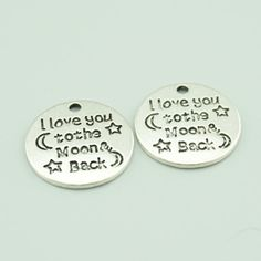 20pcs 20mm Antique Silver I Love You To The Moon by dreamoffamily
