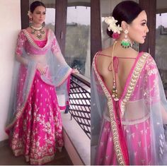 Sana Khan in a Pink embroidered lehenga Indian Wedding Outfits, Bridal Outfits, Indian Outfits, Indian Clothes, Blouse Back Neck Designs, Blouse Designs, Dress Designs, Indian Attire, Indian Wear