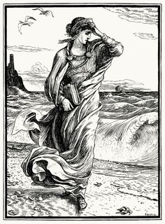 Then the princess left the cave and wandered down to the sea-shore. Walter Crane, from The necklace of Princess Fiorimonde and other stories , by Mary De Morgan, London, 1886. (Source: archive.org.)