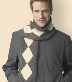 Some experience is necessary to knit this diamond scarf pattern for your favorite guy.  The pattern suggests using wool yarn but knitters always like to experiment with their patterns and colors