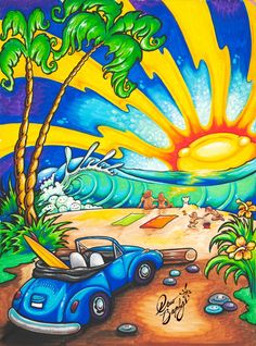 "BEATLE BUG BEACH (c) 2012 Drew Brophy Paint Pen on Canvas 24"" x 18"" - a commission for a collector"