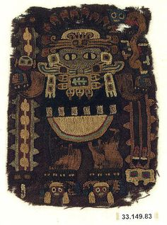 Embroidered Fragment with Figure, Paracas culture, Peru, 3rd-2nd century. Metropolitan Museum of Art.