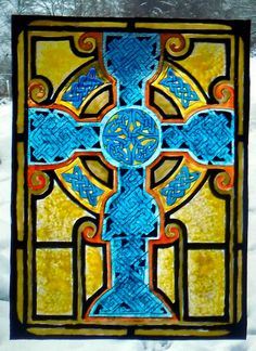 WICOART STICKER WINDOW COLOR CLING FAUX STAINED GLASS BLUE CELTIC CROSS CROIX