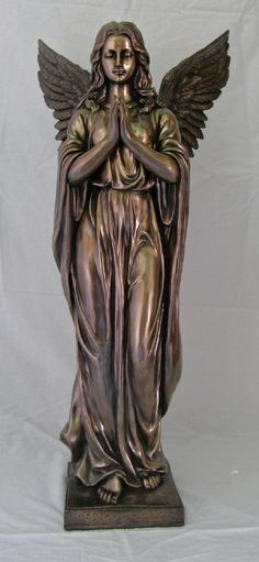 "Praying Angel, Cold-Cast Bronze, 38"" – Celebrate Faith"