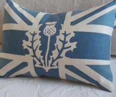I love this!!!!   handprinted muted royal blue and ivory union jack by helkatdesign, $62.00