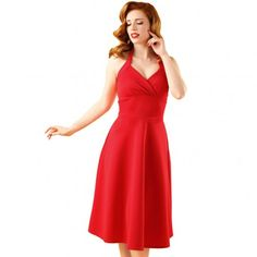 Eventful Red Vintage Halter Swing Dress L. A sleeve: Dresses. Customer satisfaction is our top goal. All products are quality checked. feel free to contact us for any question. Club Dresses, Sexy Dresses, Vintage Dresses, Fashion Dresses, Sleeve Dresses, Jupe Swing, Swing Skirt, New Pant, Red Midi Dress