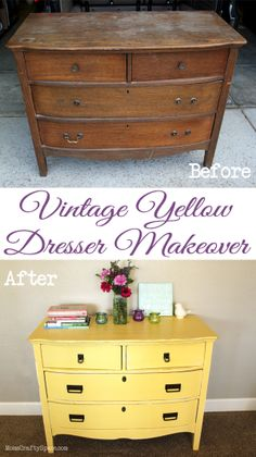 Amazing painted dresser transformation! She took a broken vintage dresser and gave it a yellow paint makeover. So chic and pretty!