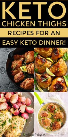 Keto chicken thighs recipes are a wonderful treat. These seven recipes will fulfill your keto cravings with simple and easy keto recipes! Keto Chicken Thighs, Keto Chicken Thigh Recipes, Crispy Baked Chicken Thighs, Chicken Recipes, Dinner Meal, Keto Dinner, Low Carb Dinner Recipes, Diet Recipes, Lunch Recipes