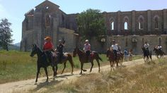 Horse riding at the Abby of San Galgano - home to the sword in the stone!