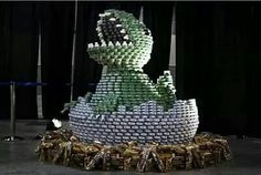Sculpture made out of tin cans