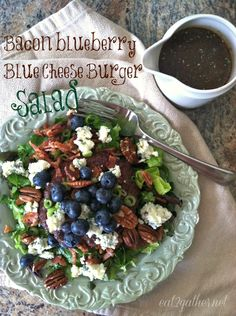 Bacon Blueberry Blue Cheese Burger Salad