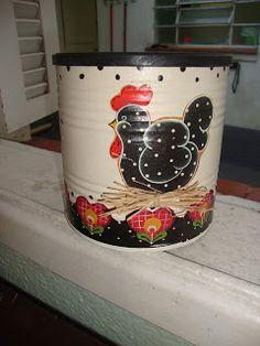 Lata reciclada para milho de pipoca - Técnica Country + Decoupage!