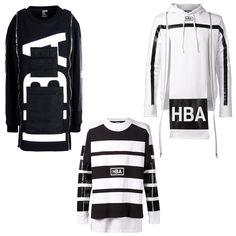 HBA Hood by Air zip sweatshirt, $1,075; thecorner.com; Hood by Air horizontal stripe sweatshirt, $415; farfetch.com; Hood by Air zip detail hoodie, $475; farfetch.com - Photo: (Clockwise from top left) Courtesy of thecorner.com; Courtesy of farfetch.com; Courtesy of farfetch.com