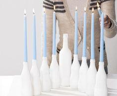 Bottles repurposed as a menorah. #Hanukkah