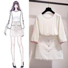 Want these korean fashion style Asian Fashion, Look Fashion, Girl Fashion, Fashion Design Drawings, Fashion Sketches, Fashion Drawing Dresses, Fashion Dresses, Dress Illustration, Dress Sketches