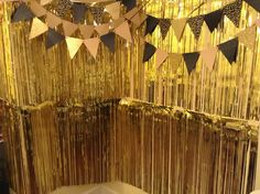 tinsel/streamer photo booth with banner