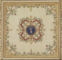 Adam, Robert (1728-1792) Design for the painted Breakfast Room in the Family Pavilion, 1760 Ceiling Art, Floor Ceiling, Ceiling Design, Arabesque, Library Art, Photo Library, Classic Ceiling, Neutral Color Scheme, Copper Art