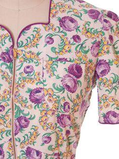 Vintage Cotton Printed Day House Dress Purple Floral Zip Front