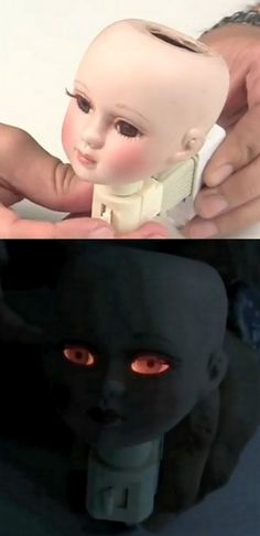 DIY Creepy Porcelain Doll Head Night Light Tutorial from Mark Montano here.  This is so easy to do and as Mark Montano explains, using a porcelain doll head with glass eyes allows the light to shine through. *This would go well with my posts using doll parts: DIY Unique Doll Arm Jewelry Display here and Natashas Baby Doll Parts Coat Rack here.