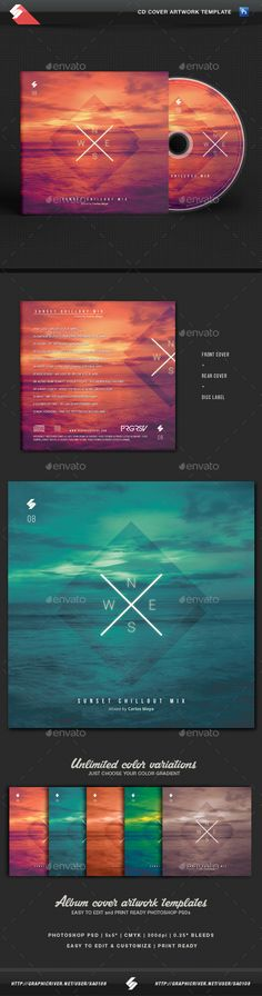 Sunset Chillout - CD Cover Template — Photoshop PSD #downtempo #beach • Available here → https://graphicriver.net/item/sunset-chillout-cd-cover-template/15683666?ref=pxcr