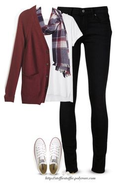 """""""Cardigan, plaid scarf & chucks"""" by steffiestaffie ❤ liked on Polyvore featuring Paige Denim, rag & bone, Madewell, Converse and Miadora"""