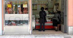 Metzgerei in Griechenland Stock Foto, Butcher Shop