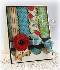 I love this card, the combination of colors and the zig zag stitching.