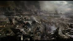 Overview of devastated Boston in the movie War of the Worlds (2005).