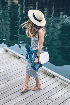 Jess Kirby shares her essentials for easy and effortless summer style including a striped midi dress and jean jacket from Nordstrom.