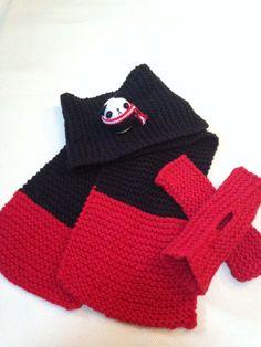 wool scarf, fingerless gloves, amigurumi