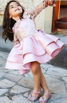 Cute Short Pink Satin Girls Pageant Gowns Tired Skirt First Communication Dresses With Bow - Julea & Milla dresses - Girls Flower Girl Dresses Boho, Baby Girl Party Dresses, Dresses Kids Girl, Kids Outfits, Moda Kids, Dress Anak, Kids Gown, Baby Dress Patterns, Pageant Gowns