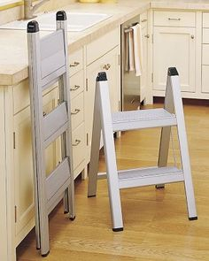 Ultraslim Aluminum Step Stools: Lightweight and sturdy, folds down flat. Available in 2 or 3 step models.