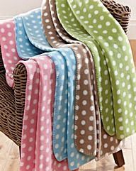 Polka Dot Fleece Blanket Pack of 2. I have blue & light brown. I use them as throws on my living room sofa & chair. Light brown in colder weather & blue in warmer weather. So soft to snuggle underneath to have a rest during colder months. I want green now...& pink...
