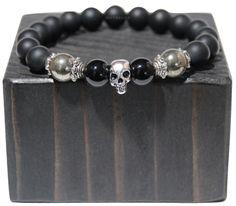 """BOYBEADS """"Reflection"""" natural 10mm matte black onyx silvertone or goldtone skull beaded bracelet for guys"""