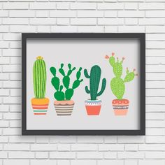 """With an effortless modern style, Lucy Darling offers a high-quality southwest cactus art print featuring the Golden Barrel, Emerald Wave, Saguaro, and Prickly Pear cacti. Designed to celebrate life's darling moments. • Perfect Home Decor item!• Great gift!• Unique, retro, modern, & whimsical design • Made in the USA• Printed using recycled materials• Eco-friendly, soy-based inks   *Frame and accessories not included  """"Great print! Can't wait to hang it up in my house.&..."""