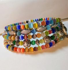 Boho Chic Memory Wire Bracelet by TheVagabondsBaubles on Etsy