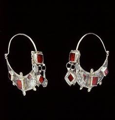 Morocco | Earrings; silver and glass | African Museum (Belgium) Collection; acquired 1992
