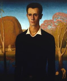 Grant Wood — Arnold Comes of Age (Portrait of Arnold Pyle), Painting: Oil on board, x 23 in. Sheldon Museum of Art, Nebraska Art Association Collection. Via Art of Darkness: Daily Art. American Gothic, Grant Wood Paintings, Iowa, Artist Grants, Social Realism, Coming Of Age, New Shows, American Artists, American Realism