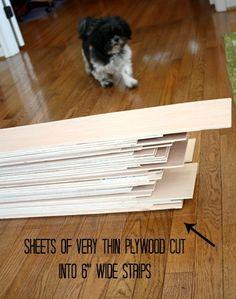 "Basement wall idea Strips of plywood cut into 6"" strips for shiplap | hookedonhouses.net"