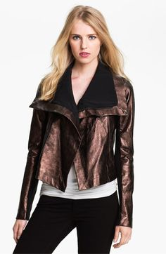 Veda 'Max' Metallic Leather Moto Jacket available at #Nordstrom