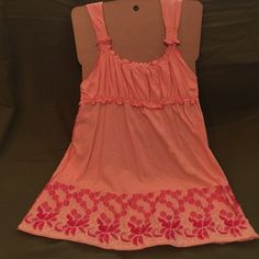 BCBGMaxAzria coral top XL babydoll coral 100% cotton top with embroidery details. BCBGMaxAzria Tops Tank Tops