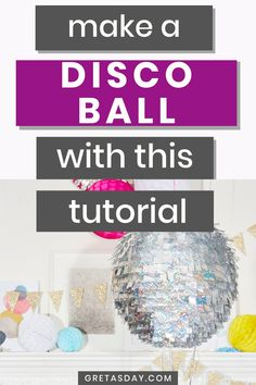 Every new year's eve party needs a sparkly ball. Our quick and easy DIY disco ball tutorial is the perfect solution and addition to your gathering. Home Dance, Dance Parties, Glitter Crafts, Craft Projects For Kids, Family Crafts, Surefire, Disco Ball, Diy Birthday, Kids House