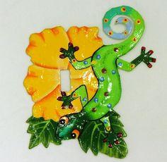 caribbean  tropical decor colors   Tropical Tiki Green Gecko Lizard Haitian Metal Switchplate Yellow ...