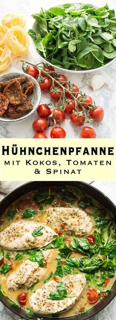 Würzige Hühnchenpfanne Rezept mit Kokos, Tomaten und Spinat