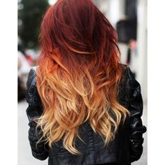 One Step to own your unique red ombre hair color ❤ liked on Polyvore featuring beauty products, haircare, hair color, hair, hairstyles and cabelos