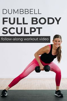 The BEST full body workout at home in 30 minutes. Twelve full body dumbbell exercises -- from basic squats and push ups, to compound exercises like a lateral lunge and row. Build full body strength at home! Each strength circuit includes -- upper body, lower body, full body, core and abs. The perfect low impact, full body workout to build strength at home. Add it to your workout plan 1-2 times a week. Full Body Strength Workout, Full Body Dumbbell Workout, Full Body Workout Routine, Dumbbell Exercises, Full Body Workout At Home, Strength Training, Interval Training Workouts, High Intensity Interval Training, Fun Workouts